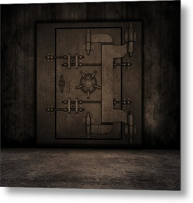Grunge Interior With Bank Vault Metal Print by Kirsty Pargeter