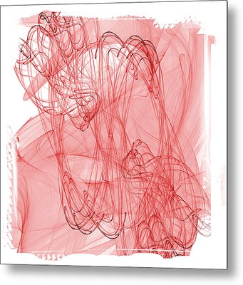 Aries - Red Abstract Zodiac Sign  Metal Print