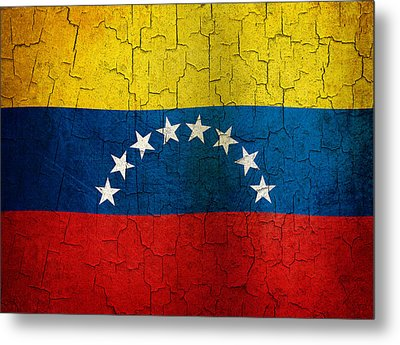 Grunge Venezuela Flag Metal Print