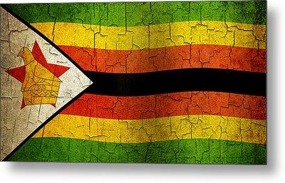 Grunge Zimbabwe Flag Metal Print
