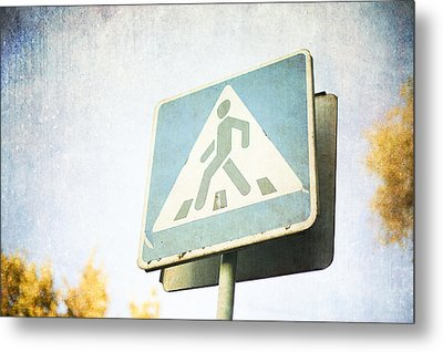 Grungy Crossing Sign Metal Print by Sofia Walker