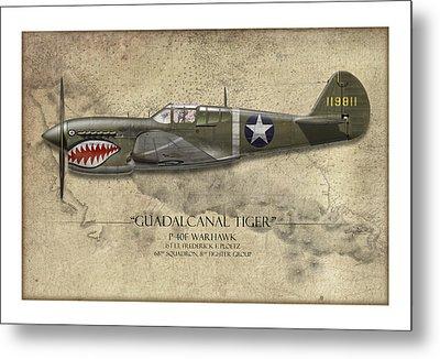Guadalcanal Tiger P-40 Warhawk - Map Background Metal Print by Craig Tinder