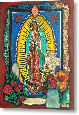 Guadalupe Collage In Red Metal Print