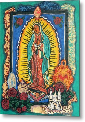 Guadalupe Collage In Turquoise Metal Print