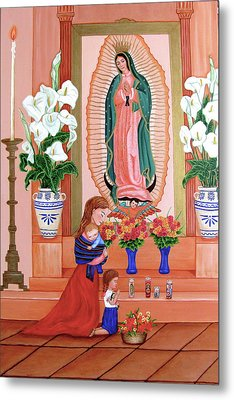 Metal Print featuring the painting Guadalupe by Evangelina Portillo