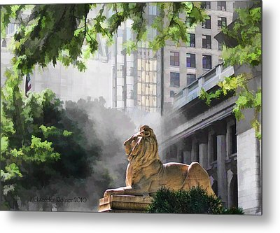Guarding The Grand Library Metal Print by Aleksander Rotner