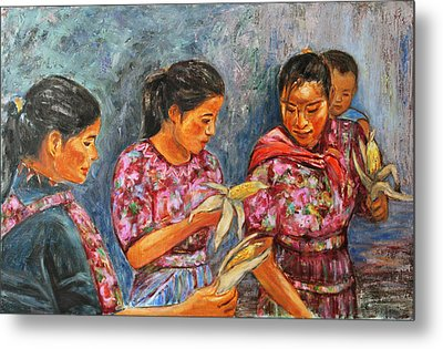 Metal Print featuring the painting Guatemala Impression IIi by Xueling Zou