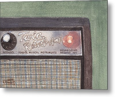 Guitar Amp Sketch Metal Print by Ken Powers