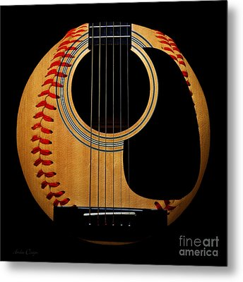 Guitar Baseball Square Metal Print