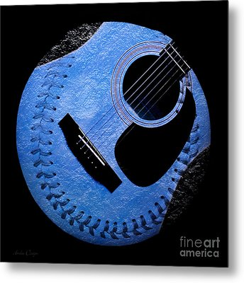 Guitar Blueberry Baseball Square Metal Print by Andee Design