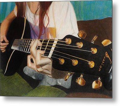 Guitar Drawing Metal Print by Savanna Paine