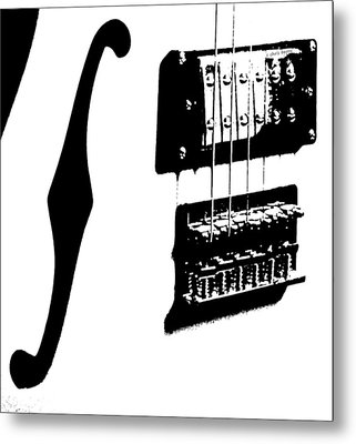 Guitar Graphic In Black And White  Metal Print by Chris Berry