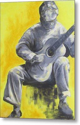 Guitar Man In Shades Of Grey Metal Print by Susan Richardson