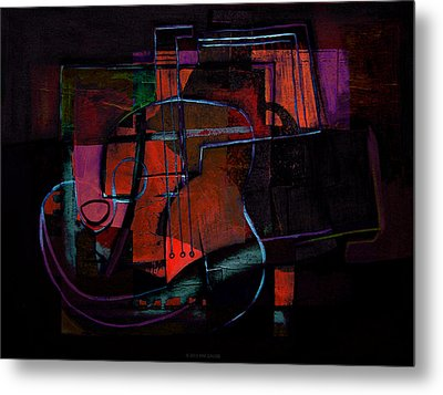 Guitar On Table Metal Print by Kim Gauge