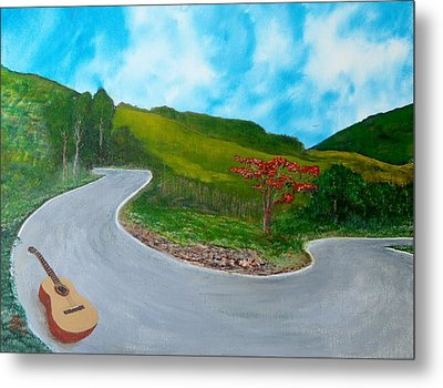 Guitar On The Road Metal Print by Tony Rodriguez