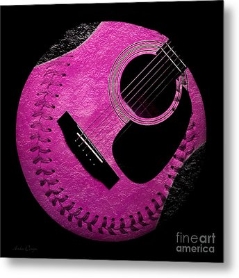 Guitar Raspberry Baseball Metal Print by Andee Design