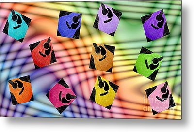 Guitar Storm - Rainbow Colors - Music - Abstract Metal Print by Andee Design