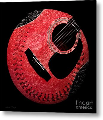 Guitar Strawberry Baseball Metal Print by Andee Design