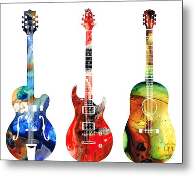 Guitar Threesome - Colorful Guitars By Sharon Cummings Metal Print