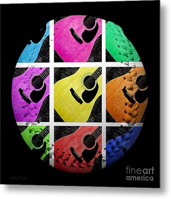 Guitar Tic Tac Toe White Baseball Square Metal Print by Andee Design