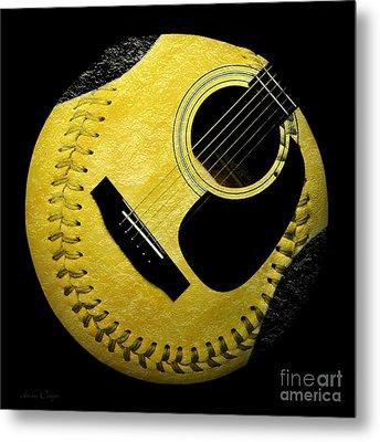 Guitar Yellow Baseball Square Metal Print by Andee Design