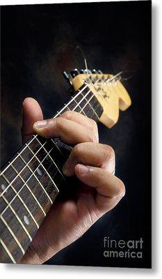 Guitarist Playing Guitar Metal Print by William Voon