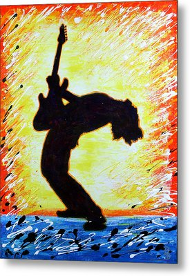 Metal Print featuring the painting Guitarist Rockin' Out Silhouette by Bob Baker