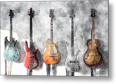 Metal Print featuring the mixed media Guitars On The Wall by Arline Wagner