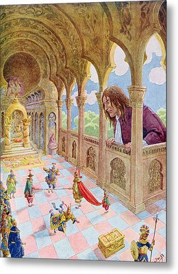 Gulliver At Lilliput Metal Print by Jacques Onfray de Breville
