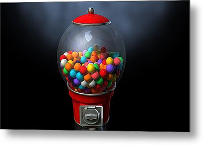 Gumball Dispensing Machine Dark Metal Print by Allan Swart