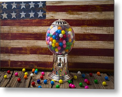 Gumball Machine And Old Wooden Flag Metal Print