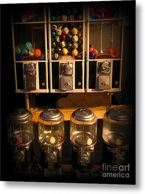 Gumball Memories - Row Of Antique Vintage Vending Machines - Iconic New York City Metal Print by Miriam Danar