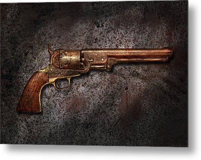Gun - Colt Model 1851 - 36 Caliber Revolver Metal Print by Mike Savad