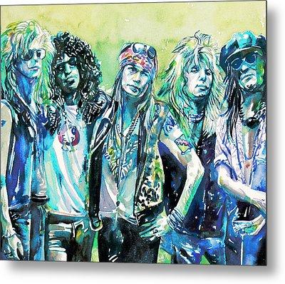 Guns N' Roses - Watercolor Portrait Metal Print by Fabrizio Cassetta