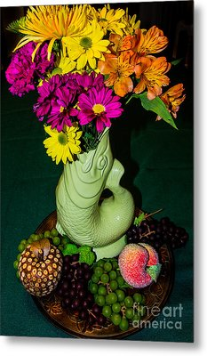 Gurgle Vase With Flowers Metal Print by Kathy Liebrum Bailey