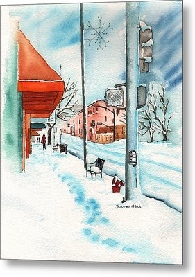 Gurley Street Prescott Arizona On A Cold Winters Day Western Town Metal Print by Sharon Mick