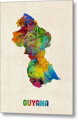 Guyana Watercolor Map Metal Print by Michael Tompsett
