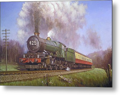 Gwr King Class On Dainton Bank. Metal Print by Mike  Jeffries