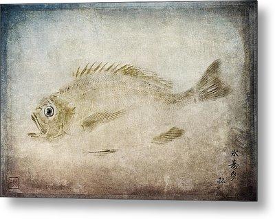 Gyotaku Fish Rubbing Japanese Metal Print by Carol Leigh