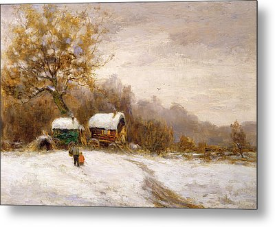 Gypsy Caravans In The Snow Metal Print