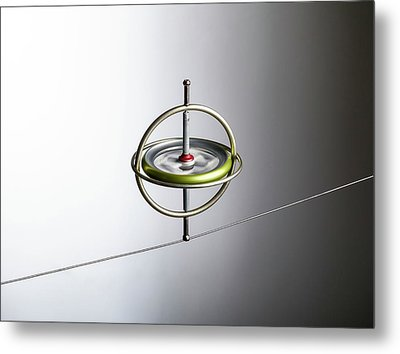 Gyroscope Balancing On A Wire Metal Print by Science Photo Library