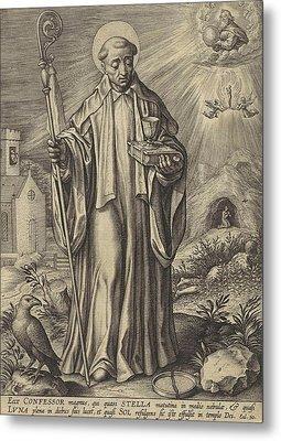 H Benedict Of Nursia, Hieronymus Wierix Metal Print