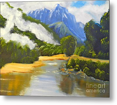 Metal Print featuring the painting Haast River New Zealand by Pamela  Meredith