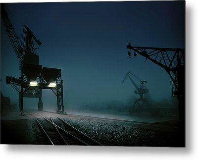 Habour At Night Metal Print by Hans Bauer