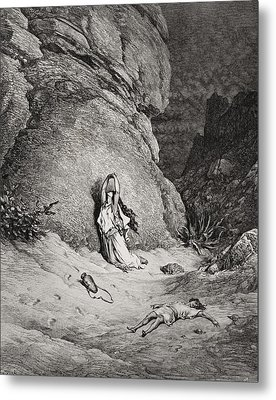 Hagar And Ishmael In The Desert Metal Print by Gustave Dore