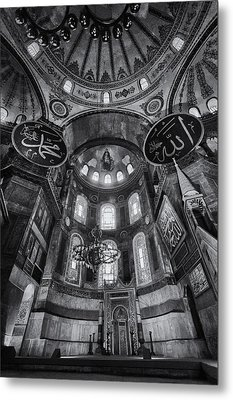 Hagia Sophia Interior - Bw Metal Print by Stephen Stookey