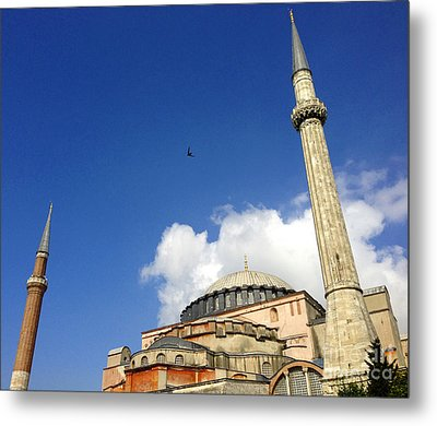 Hagia Sophia With Two Minarets Istanbul Turkey Metal Print by Ralph A  Ledergerber-Photography