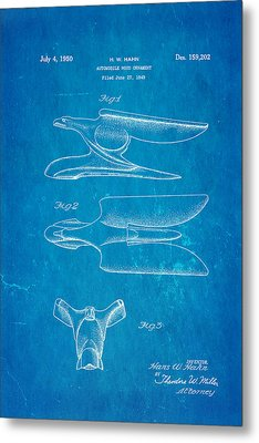 Hahn Hood Ornament Patent Art 1950 Blueprint Metal Print by Ian Monk