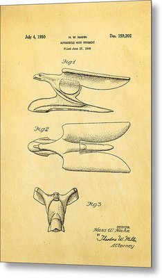 Hahn Hood Ornament Patent Art 1950 Metal Print by Ian Monk