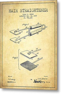 Hair Straightener Patent From 1909 - Vintage Metal Print by Aged Pixel